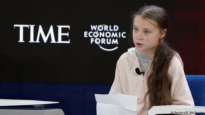 Swedish climate activist Greta Thunberg speaks at the 2020 WEF (Reuters/D. Balibouse)