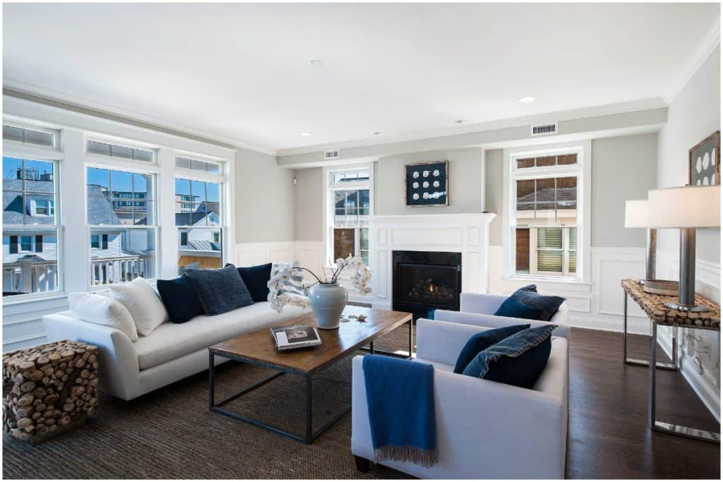 staged bright living room