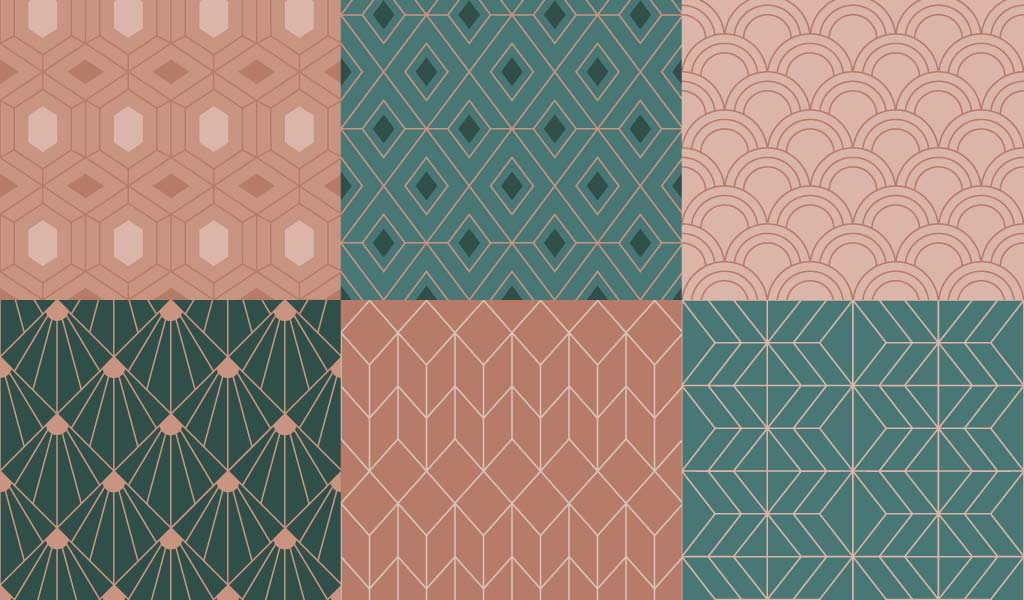 FREE Art Deco Design Pack—Patterns, Borders, Shapes, and More — Repeating Pattens Preview