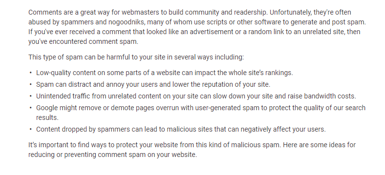 Google Guidelines on off-page SEO and comments