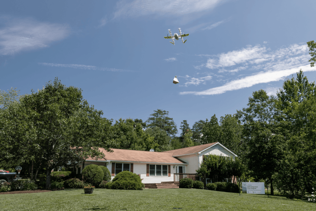 Wing's drone delivery in Christiansburg, Virginia. Courtesy of Wing (wing.com)